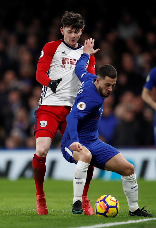 "Soccer Football - Premier League - Chelsea vs West Bromwich Albion - Stamford Bridge, London, Britain - February 12, 2018 Chelsea's Eden Hazard in action with West Bromwich Albion's Oliver Burke REUTERS/Eddie Keogh EDITORIAL USE ONLY. No use with unauthorized audio, video, data, fixture lists, club/league logos or ""live"" services. Online in-match use limited to 75 images, no video emulation. No use in betting, games or single club/league/player publications. Please contact your account representative for further details."
