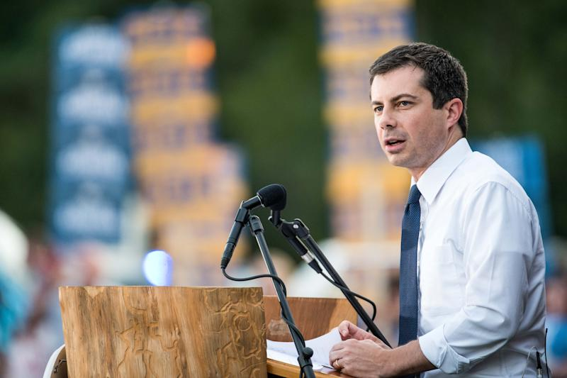 Democratic presidential candidate Pete Buttigieg addresses a crowd in Galivants Ferry, South Carolina, in September 2019.