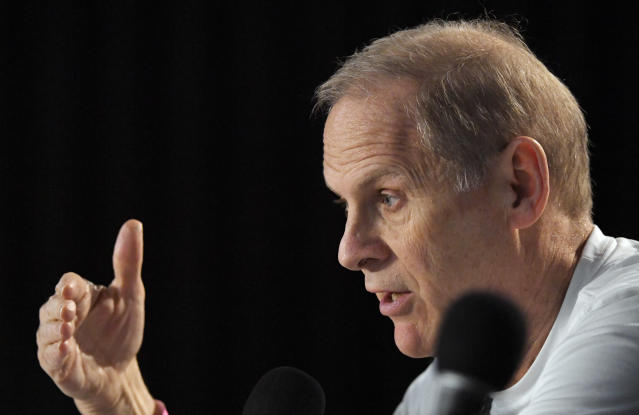 Michigan head coach John Beilein speaks during a news conference at the NCAA men's college basketball tournament Friday, March 23, 2018, in Los Angeles. Michigan faces Florida State in a regional final on Saturday. (AP Photo/Mark J. Terrill)