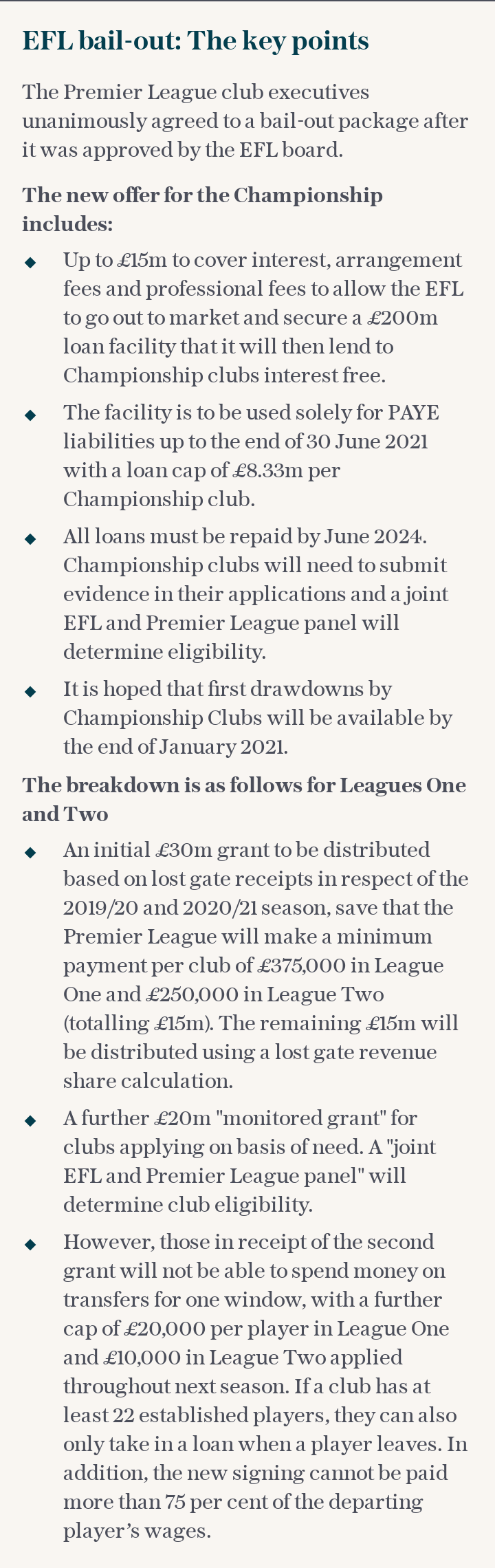 EFL bail-out: The key points