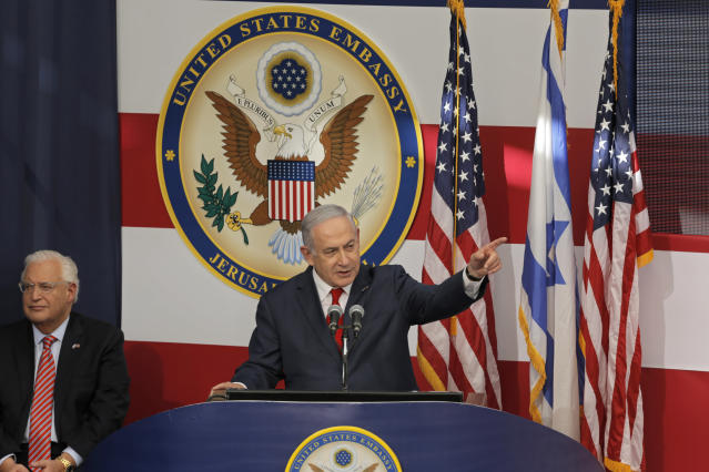 U.S. Ambassador to Israel David Friedman listens as Israeli Prime Minister Benjamin Netanyahu speaks during the opening ceremony of the new U.S. Embassy in in Jerusalem, Monday, May 14, 2018.  (Photo: Sebastian Scheiner/AP)