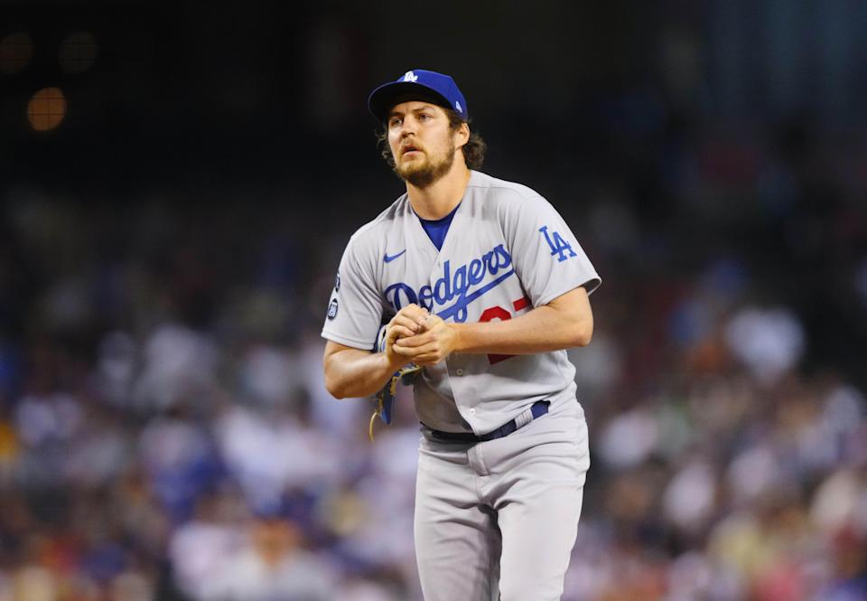 Dodgers pitcher Trevor Bauer has made 17 starts this season, but none since June 28.
