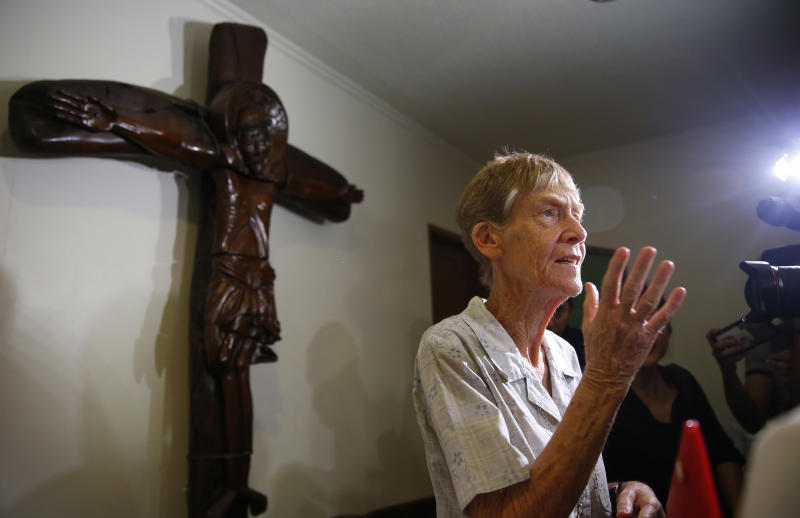 Australian Roman Catholic nun Sister. Patricia Fox is interviewed by the media a day after the Bureau of Immigration forfeited her missionary visa and given 30 days to leave the country Thursday, April 26, 2018 in suburban Quezon city northeast of Manila, Philippines. The Australian nun whose missionary visa in the Philippines was revoked after the president complained about her joining opposition rallies said Thursday that social advocacy and human rights are part of church teachings. (AP Photo/Bullit Marquez)