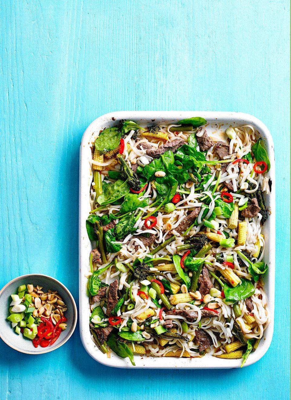 """<p>Who knew? Noodles in a roasting tin! We've used rump steak as it is flavoursome and kinder on the budget, but splash out on fillet if you like.</p><p><strong>Recipe: <a href=""""https://www.goodhousekeeping.com/uk/food/recipes/a29101897/chilli-beef-noodles-traybake/"""" rel=""""nofollow noopener"""" target=""""_blank"""" data-ylk=""""slk:Chilli Beef Noodles Traybake"""" class=""""link rapid-noclick-resp"""">Chilli Beef Noodles Traybake</a></strong></p>"""