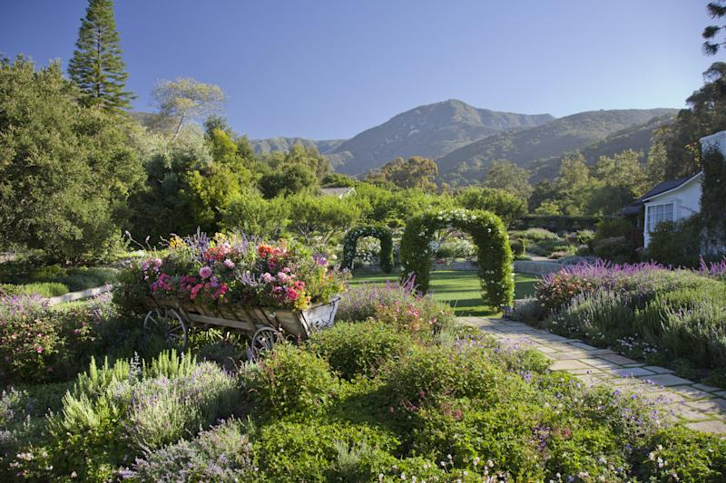 There are numerous gardens on the property with incredible views.