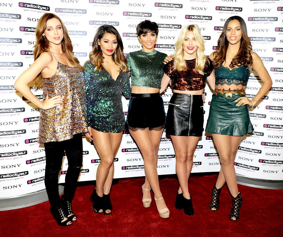 LIVERPOOL, ENGLAND - DECEMBER 10:  Una Foden, Vanessa White, Frankie Bridge, Mollie King and Rochelle Humes of The Saturdays attend a photo call at Radio City Live on December 10, 2014 in Liverpool, England.  (Photo by Shirlaine Forrest/WireImage)