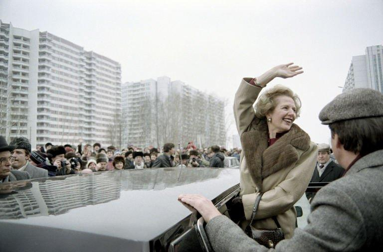 A picture dated March 29, 1987 shows then British Prime Minister Margaret Thatcher greeting curious Moscovites