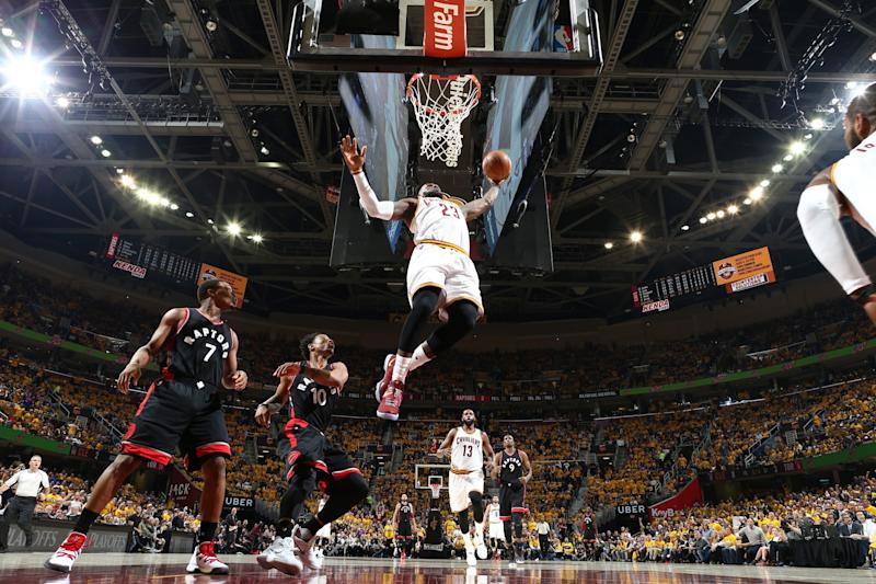 LeBron James rises above. (Nathaniel S. Butler/NBAE/Getty Images)