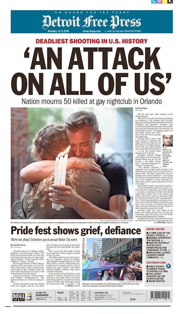 <p>Detroit Free Press<br> Published in Detroit, Mich. USA. (newseum.org) </p>