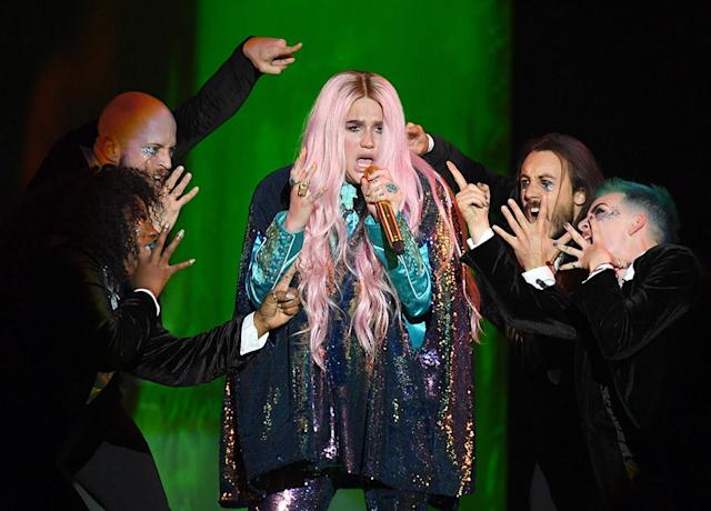 "<p>The pop star's widely admired ""Praying,"" which deals with the hot-button issue of exploitation of women, was passed over for noms for Record and Song of the Year. However, her comeback LP <em>Rainbow</em> is nominated for Best Pop Vocal Album. (Photo: Karwai Tang/WireImage) </p>"