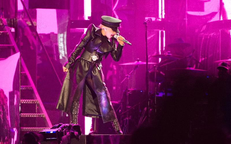 US pop singer Lady Gaga performs on stage at the Coachella Valley Music And Arts Festival in Indio, California on April 15, 2017 (AFP Photo/Valerie MACON)