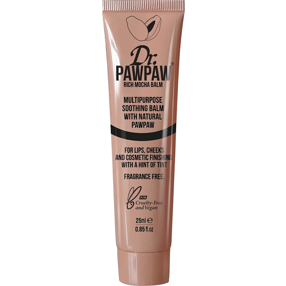 """<h3>Dr. PawPaw Tinted Multipurpose Soothing Balm<br></h3><br>This juicy salve derived from papaya fruit comes in a variety of tinted hues (plus a <a href=""""https://www.ulta.com/multipurpose-soothing-balm?productId=pimprod2015268"""" rel=""""nofollow noopener"""" target=""""_blank"""" data-ylk=""""slk:crystal-clear"""" class=""""link rapid-noclick-resp"""">crystal-clear</a> one) and can be used to hydrate lips, strobe high points of the face, and add a dewy flush to cheeks.<br><br><strong>Dr. PawPaw</strong> Tinted Multipurpose Soothing Balm, $, available at <a href=""""https://go.skimresources.com/?id=30283X879131&url=https%3A%2F%2Fwww.ulta.com%2Ftinted-multipurpose-soothing-balm%3FproductId%3Dpimprod2011986%26sku%3D2559229"""" rel=""""nofollow noopener"""" target=""""_blank"""" data-ylk=""""slk:Ulta Beauty"""" class=""""link rapid-noclick-resp"""">Ulta Beauty</a>"""