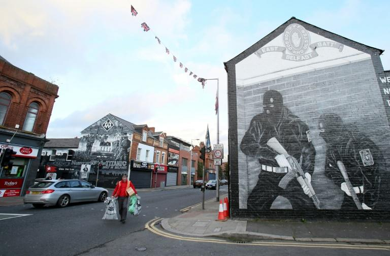 Ulster Volunteer Force (UVF) loyalist murals are pictured on Newtownards Road in Belfast, near to the Skainos Centre, where Irish language classes are taught
