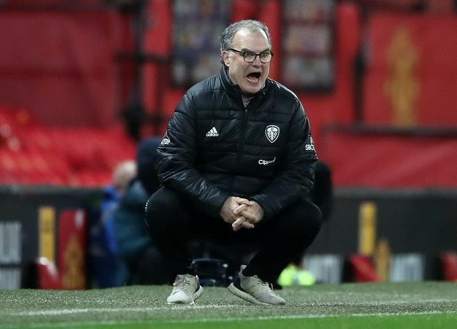 Marcelo Bielsa on the touchline at Old Trafford