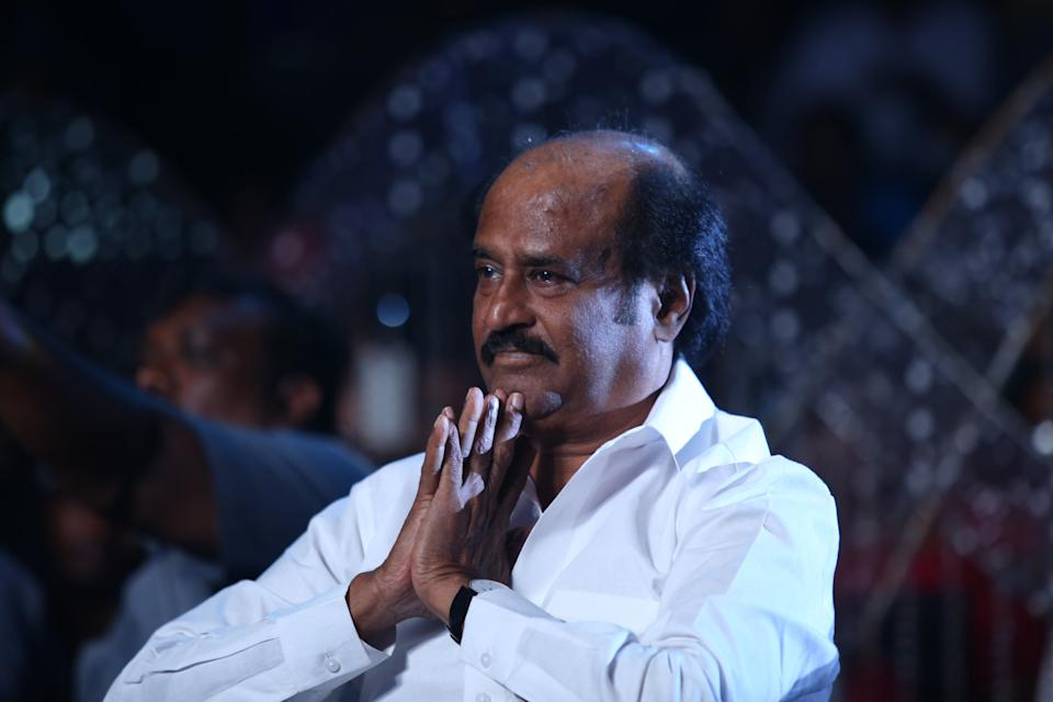 CHENNAI,INDIA SEPTEMBER 15: Tamil super star Rajnikanth during the audio launch of the film I in Chennai.(Photo by Jaison G/The India Today Group via Getty Images)