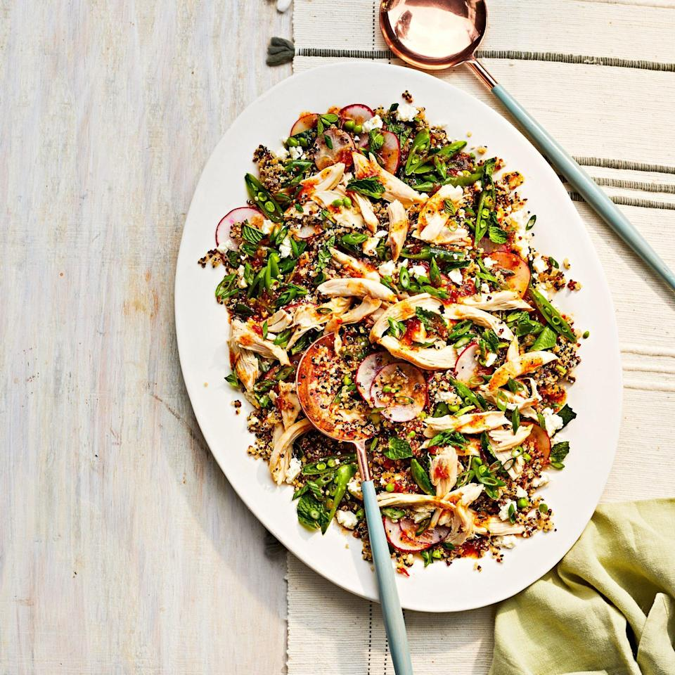 """<p><strong>Recipe: </strong><a href=""""https://www.southernliving.com/recipes/chicken-and-quinoa-salad-pepper-jelly-dressing"""" rel=""""nofollow noopener"""" target=""""_blank"""" data-ylk=""""slk:Chicken-and-Quinoa Salad with Pepper Jelly Dressing"""" class=""""link rapid-noclick-resp""""><strong>Chicken-and-Quinoa Salad with Pepper Jelly Dressing</strong></a></p> <p>This salad is full of hearty, good-for-you ingredients like rotisserie chicken, quinoa, sugar snap peas, and radishes, but we have to admit: The pepper jelly dressing is the true star of the show.</p>"""