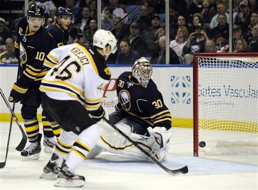 Boston Bruins center David Krejci, (46), of the Czech Republic, watches the puck hit the goalpost as Buffalo Sabres defenseman Christian Ehrhoff (10), of Germany, and goaltender Ryan Miller (30) react during the second period of an NHL hockey game in Buffalo, N.Y., Friday, Feb. 15, 2013. (AP Photo/Gary Wiepert)