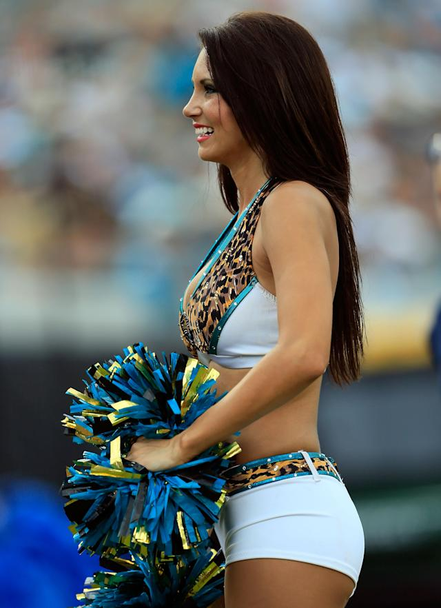 JACKSONVILLE, FL - SEPTEMBER 16: A Jacksonville Jaguars cheerleader performs during the game against the Houston Texans at EverBank Field on September 16, 2012 in Jacksonville, Florida. (Photo by Sam Greenwood/Getty Images)