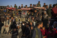 Afghans watch a traditional wrestling match at the Chaman-e-Hozari Park in Kabul, Afghanistan, Friday, Sept. 17, 2021. (AP Photo/Bernat Armangue)