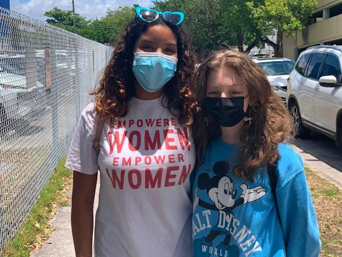 Aranxta Llamas, left, and Maria Luiza Cunha, just finished their freshman year at iPrep Academy, a K-12 Miami-Dade school in downtown Miami.
