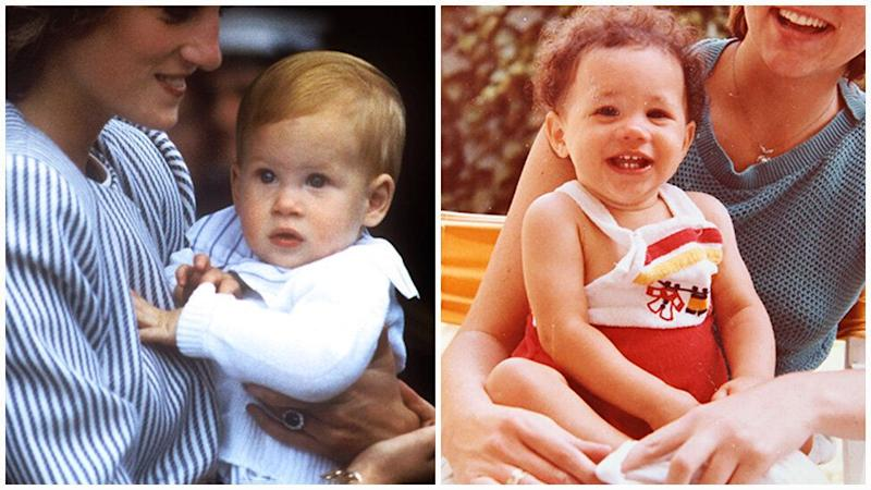 The royal baby looks exactly like his father, Prince Harry, and mum, Meghan Markle, when they were babies. Photo: Getty Images/Splash