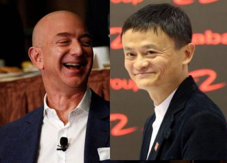 Amazon CEO Jeff Bezos and Alibaba CEO Jack Ma. Individual sellers make money by using the two platforms.