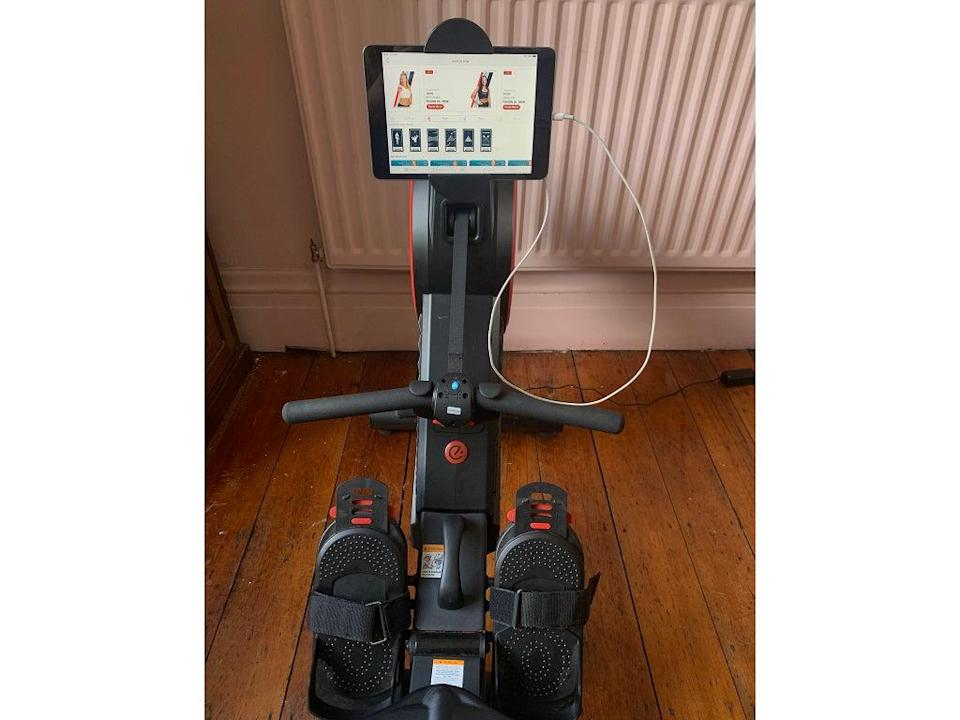 You can easily connect your tablet to the rower (Eva Waite-Taylor)