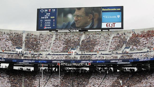 Protesters in the stadium turned their backs as a video montage was played honoring Paterno during the game against Temple.