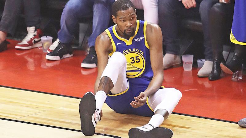 Kevin Durant, pictured during game five of the NBA Finals, has seriously injured his right Achilles.