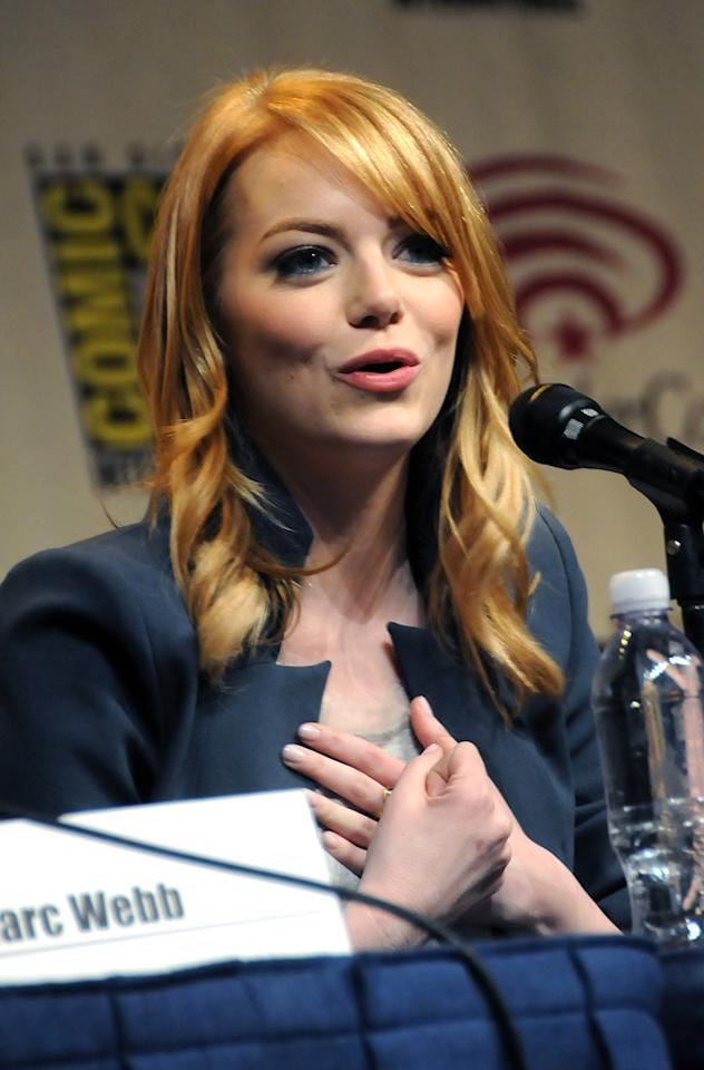 "Emma Stone attends ""The Amazing Spider-Man"" conference at WonderCon 2012 - Day 1 at Anaheim Convention Center on March 17, 2012 in Anaheim, California."