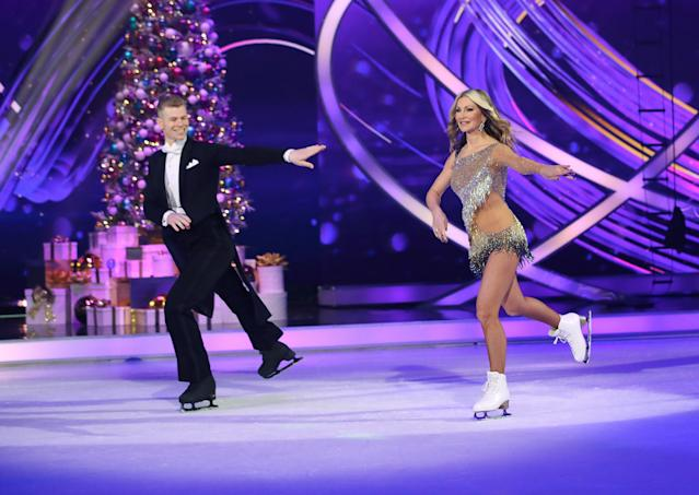 Caprice Bourret and Hamish Gaman during the Dancing On Ice 2019 photocall at ITV Studios on December 09, 2019 in London, England. (Photo by Mike Marsland/WireImage)