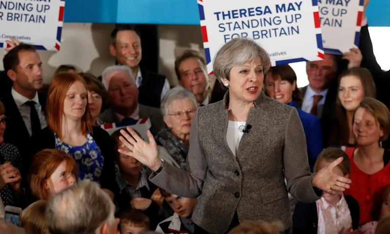 Theresa May speaks at an election campaign rally near Aberdeen on 29 April.