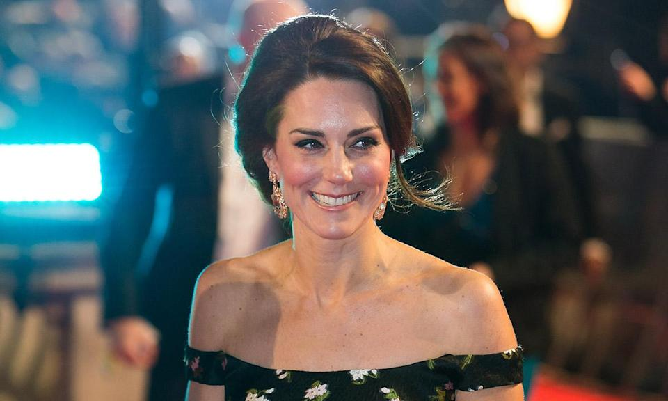 It's nearly BAFTA time again so get ready for all those show-stopping gowns, dazzling jewels and high heel heaven. The red carpet is all about A-listers' outfit choices, but don't forget some of our favourite royals often attend too, giving us a double hit of glamour. The Duchess of Cambridge has graced the BAFTAs twice over the years, in 2017 and 2018, as well as popping into the BAFTA Brits to Watch event way back in 2011. All of her outfits have been stunning, so as 2019 ceremony draws near, we decided to relive Kate's past BAFTA looks – the designer dresses, jewellery, shoes and bags. Enjoy! The Duchess wore this breath-taking black patterned off-the-shoulder gown by Alexander McQueen to the 2017 BAFTAs. Didn't she look amazing? The dress featured a Bardot neckline, bodice and full-length skirt with stylish ribbon detailing.