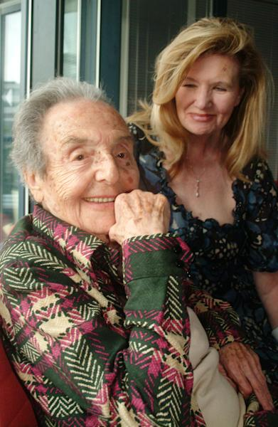 Alice Herz-Sommer, believed to be the oldest-known survivor of the Holocaust, who died in London on Sunday morning at the age of 110, pictured in this Aug. 2007 photo with Caroline Stoessinger who compiled Herz-Sommers' memories in a book, A Century of Wisdom. Born in 1903 Prague to a family of Jewish intellectuals and musicians, Alice Herz-Sommer socialised with the likes of Kafka and Brod. But in 1943, Alice, a prominent concert pianist, her husband and young son, were deported to Theresienstadt concentration camp. (AP Photo/ Polly Handcock)