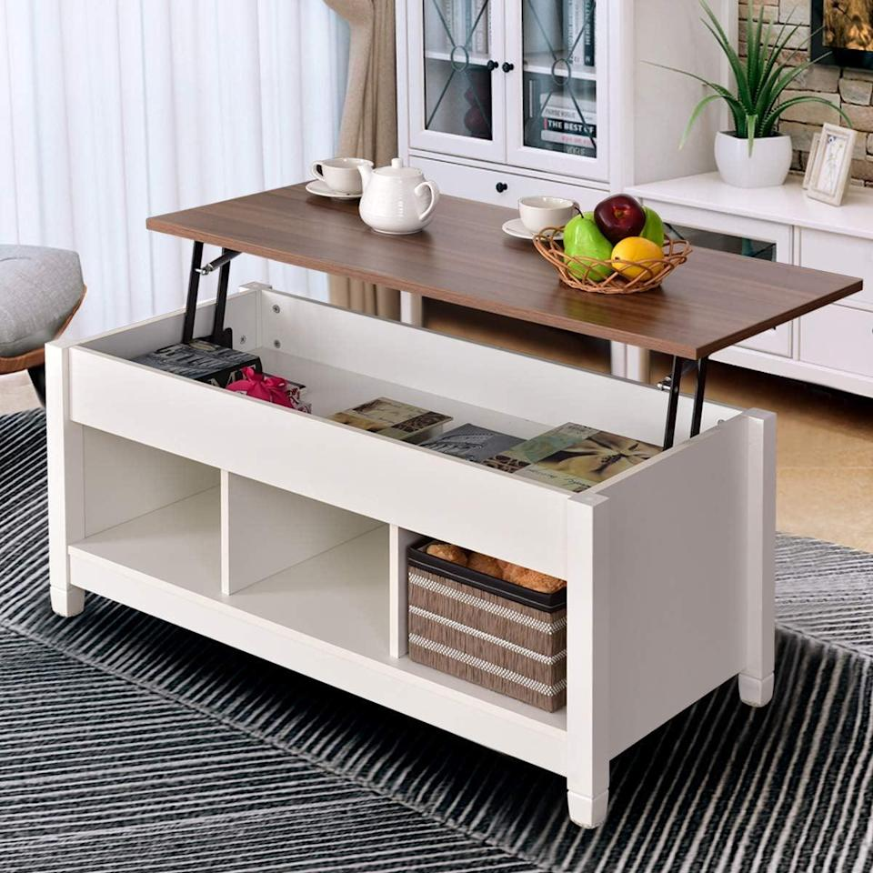 <p>The mix of woods on this <span>Tangkula Coffee Table</span> ($180) is so stylish.</p>