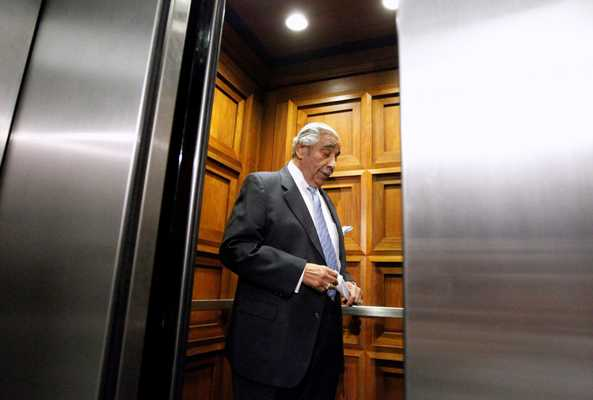 Charlie Rangel enters a Capitol Hill elevator