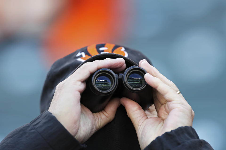 A Cincinnati Bengals fan watches during the first half of an NFL football game against the Tennessee Titans, Sunday, Nov. 1, 2020, in Cincinnati. (AP Photo/Jay LaPrete)