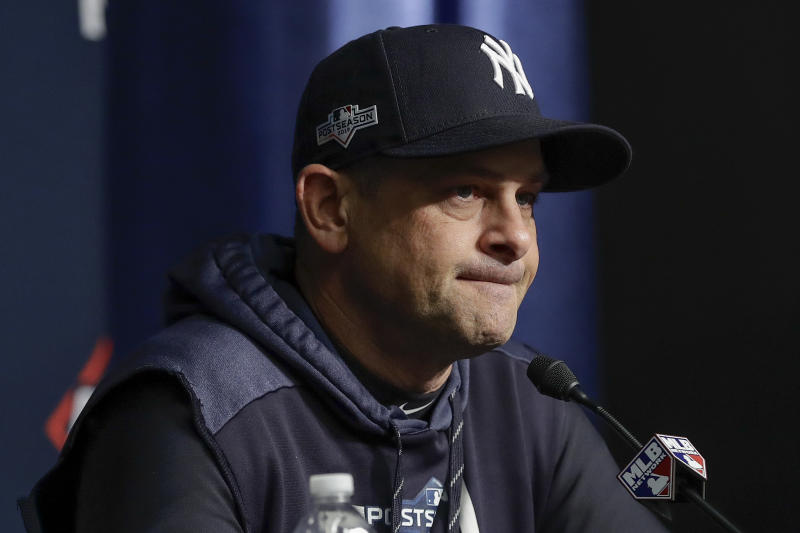 New York Yankees manager Aaron Boone answers questions during a news conference before Game 4 of baseball's American League Championship Series against the Houston Astros, Thursday, Oct. 17, 2019, in New York. (AP Photo/Frank Franklin II)
