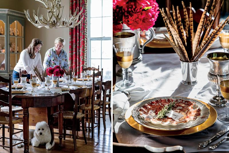 he dining room table is dressed to the nines with an eclectic mix of formal heirlooms and newer, more casual pieces. | Peter Frank Edwards; Styling: Dakota Willimon