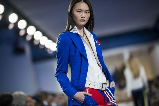 A model presents a creation by Ralph Lauren during the New York Fashion Week on February 12, 2018, in New York