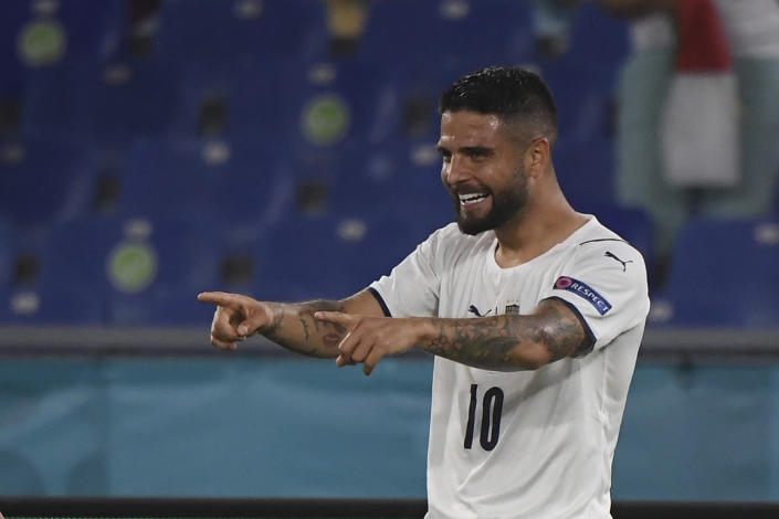 Italy's Lorenzo Insigne celebrates after scoring his side's third goal during the Euro 2020 soccer championship group A match between Italy and Turkey at the Olympic stadium in Rome, Friday, June 11, 2021. (Alberto Lingria/Pool Photo via AP)