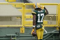 Green Bay Packers' Davante Adams celebrates his touchdown catch during the first half of an NFL football game against the Minnesota Vikings Sunday, Nov. 1, 2020, in Green Bay, Wis. (AP Photo/Morry Gash)