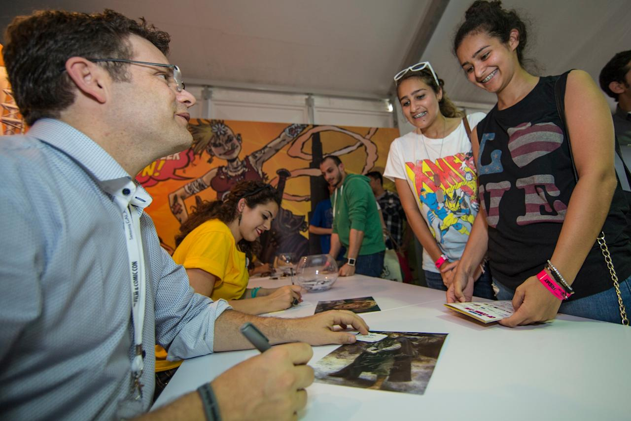 Sean Astin of Lord of the Rings, The Goonies, 24, and Rudy fame at a signing session during the opening day of the Middle East Film & Comic Con 2013 in Dubai. Photo: Oliver Clarke/Yahoo! Maktoob.