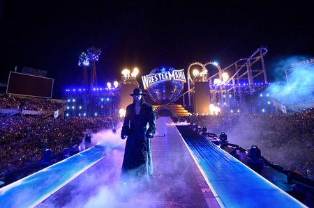 WWE Superstar the Undertaker walks toward the ring at WrestleMania 33 in Orlando in this handout photO