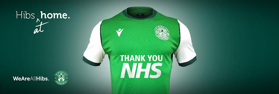 The NHS-inspired Hibernian strip will be donned on the pitch as soon as football resumes