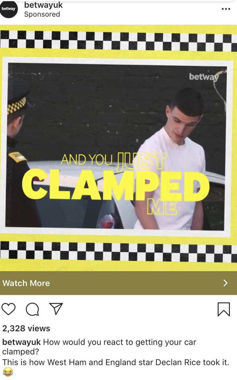 The Betway ad featuring Declan Rice. (ASA/PA)