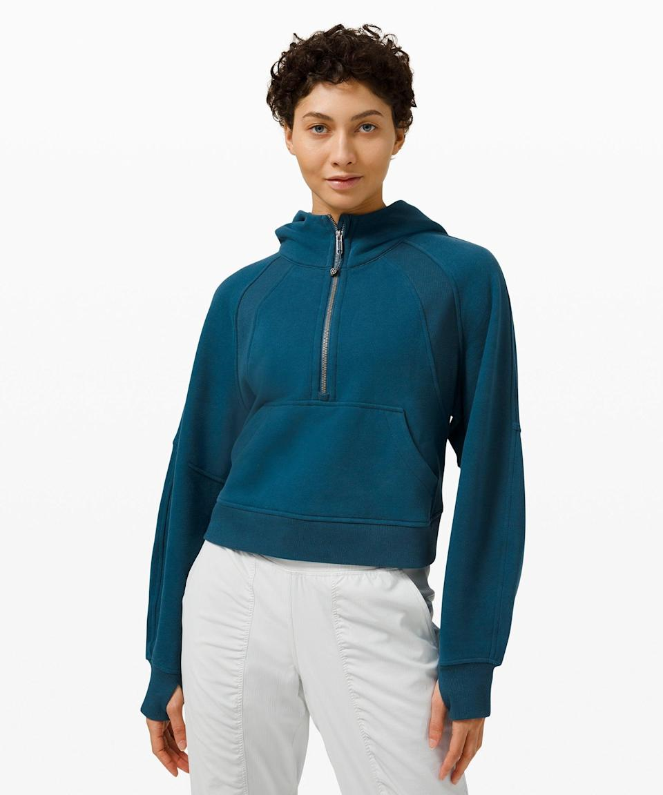 """<h2>Lululemon Scuba Oversized 1/2 Zip Hoodie</h2><br>Nab your mom one of these top-rated, best-selling half-zip pullovers before they sell out for good — if the reviews and general online fervor surrounding this beloved Lululemon style are any indication, then this perfect layering piece won't stick around for long. <br><br><em>Shop <strong><a href=""""https://shop.lululemon.com/c/bestsellers/_/N-1z0xcuuZ8td"""" rel=""""nofollow noopener"""" target=""""_blank"""" data-ylk=""""slk:Lululemon"""" class=""""link rapid-noclick-resp"""">Lululemon</a></strong></em><br><br><strong>Lululemon</strong> Scuba Oversized 1/2 Zip Hoodie, $, available at <a href=""""https://go.skimresources.com/?id=30283X879131&url=https%3A%2F%2Fshop.lululemon.com%2Fp%2Fwomens-outerwear%2FScuba-Oversized-12-Zip-Hoodie%2F_%2Fprod9960807%3Fcolor%3D47749"""" rel=""""nofollow noopener"""" target=""""_blank"""" data-ylk=""""slk:Lululemon"""" class=""""link rapid-noclick-resp"""">Lululemon</a>"""