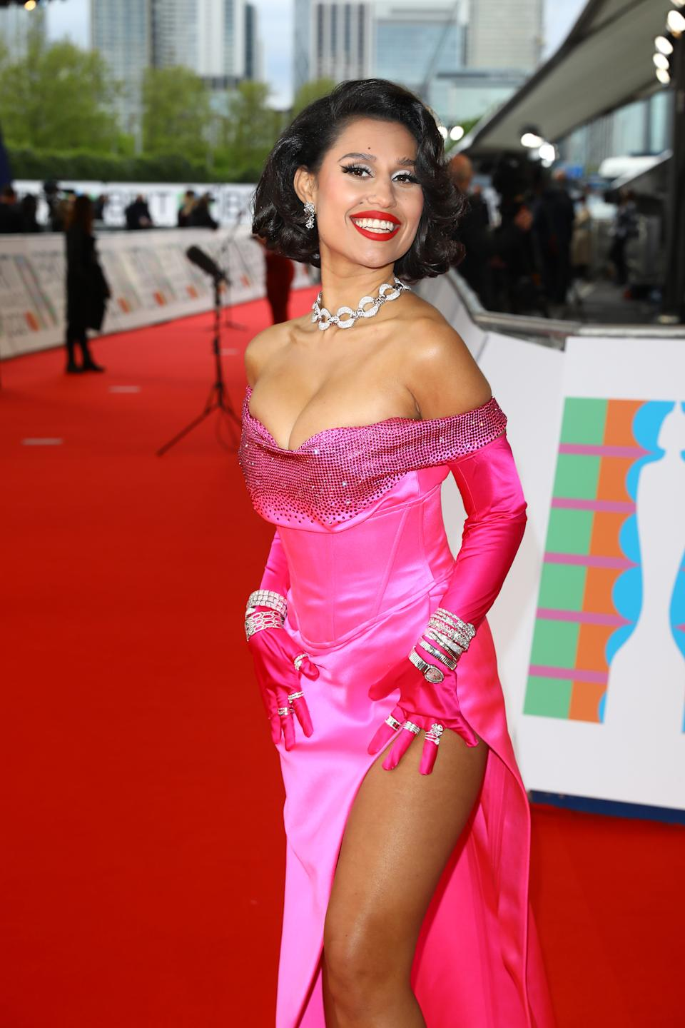 Raye arrives at The BRIT Awards 2021 at The O2 Arena on May 11, 2021 in London, England