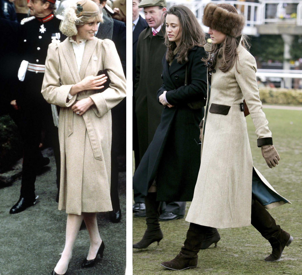 <p>Diana is seen here in wearing a beige coat on her first tour of Wales in 1981. Kate wore a similar outfit in 2006 whilst at the Cheltenham Races.<em> [Photo: Getty]</em> </p>