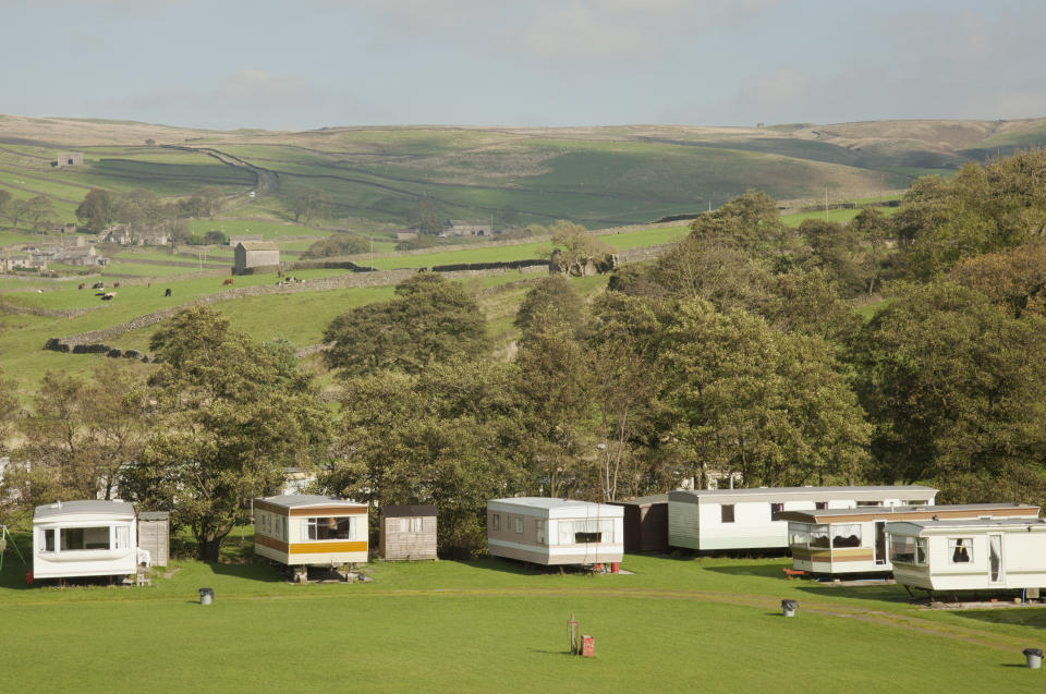 A small caravan site in the Yorkshire Dales National Park, North Yorkshire, England.